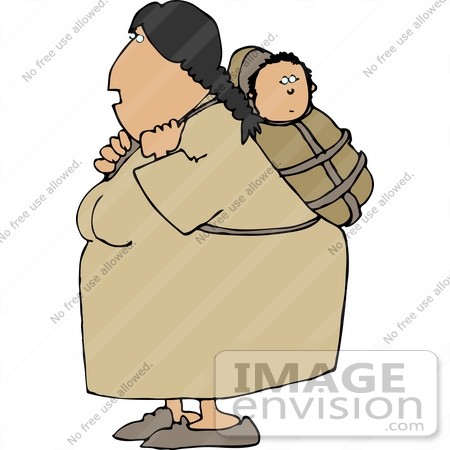 #14629 Native American Indian Mother Woman With Her Baby Papoose Clipart by DJArt