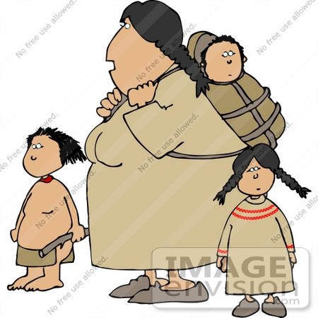 Native American Indian Mother Woman With Children Clipart #14635