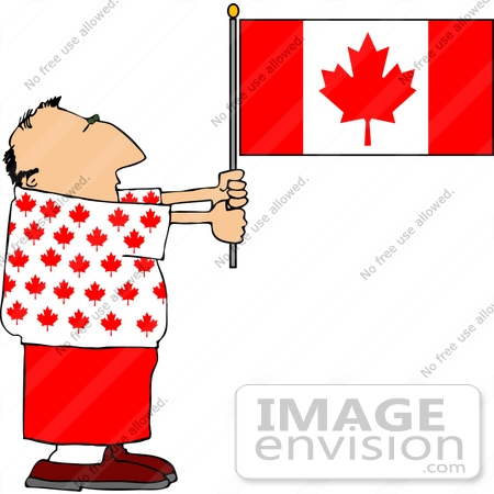 #14647 Middle Aged Caucasian Man Holding a Canadian Flag Clipart by DJArt