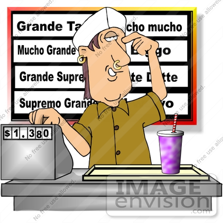 #14652 Man With Nose And Ear Piercings Working at a Fast Food Restaurant Clipart by DJArt