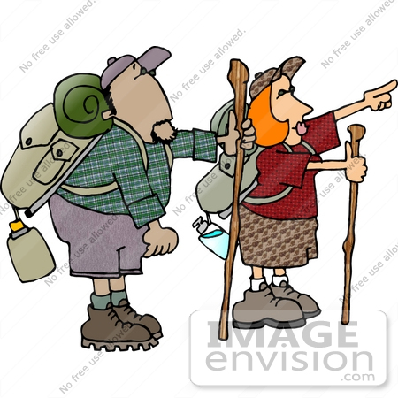 #14663 African American Man and Caucasian Woman Hiking Clipart by DJArt