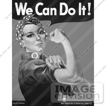 #14673 Picture of We Can Do It! Rosie the Riveter in Black and White by JVPD