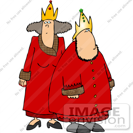 #14745 King and Queen in Red Robes Clipart by DJArt