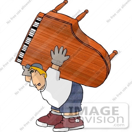 #14747 Piano Moving Man Carrying a Grand Piano Clipart by DJArt