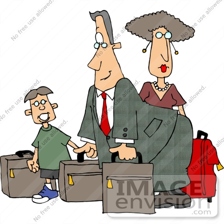#14773 Caucasian Family Traveling With Luggage Clipart by DJArt