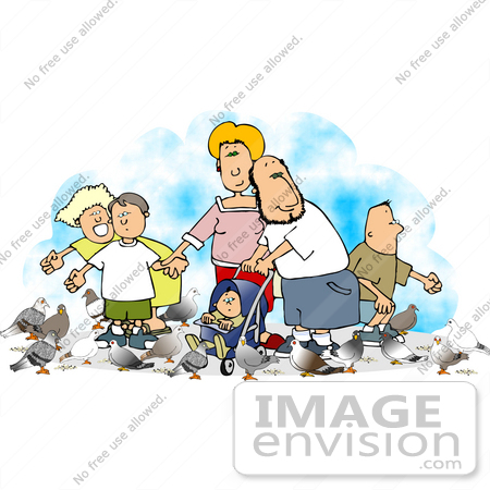 #14777 Caucasian Family Feeding Pigeons Clipart by DJArt