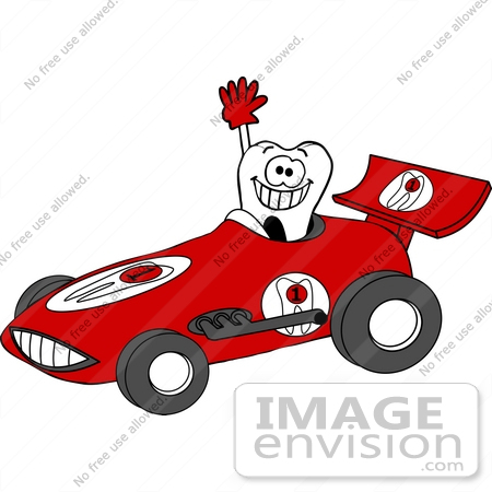 #14787 Tooth Driving a Racecar Clipart by DJArt