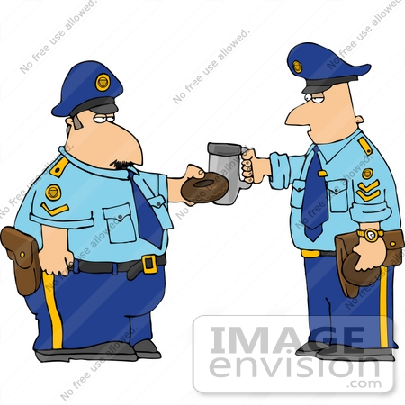 #14803 Caucasian Policemen Toasting With a Donut and Coffee Clipart by DJArt