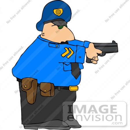 #14805 Caucasian Policeman With a Pistil Clipart by DJArt