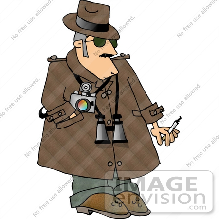#14807 Private Eye Detective Man With Binoculars and a Camera Clipart by DJArt