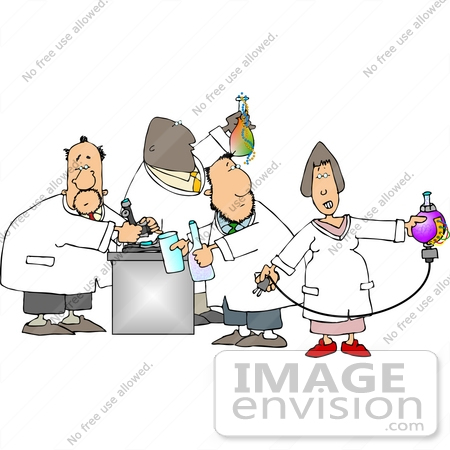 #14815 Group of Scientists Working in a Laboratory Clipart by DJArt