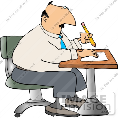 #14823 Business Man Writing Notes at a Desk Clipart by DJArt