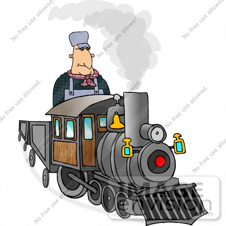 #14834 Train Engineer Man on a Train Clipart by DJArt