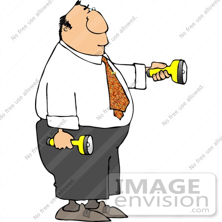 #14874 Business Man Holding Two Flashlights Clipart by DJArt