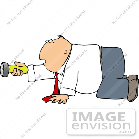 #14876 Caucasian Business Man on His Hands and Knees, Holding a Flashlight Clipart by DJArt