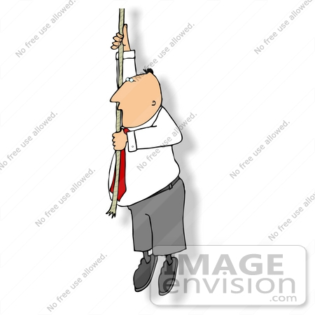 #14884 Business Man Hanging Onto a Rope Clipart by DJArt