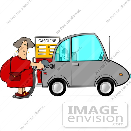 #14904 Woman Pumping Gas Into Her Compact Car at a Gas Station Clipart by DJArt