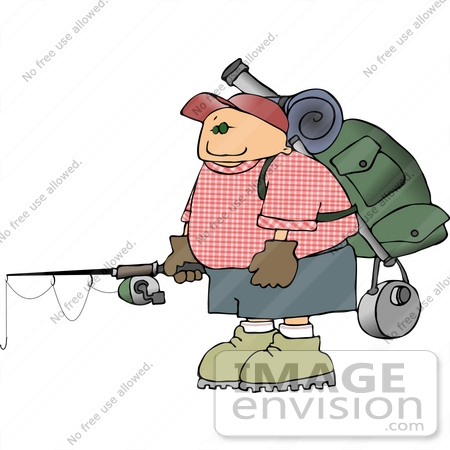 #14920 Man With Camping Gear and a Fishing Rod Clipart by DJArt