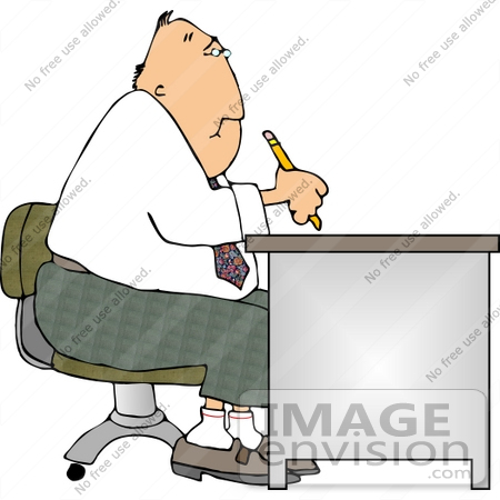 #14926 Man Writing at a Desk Clipart by DJArt
