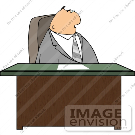 Caucasian Business Man Seated At A Desk Clipart 14927