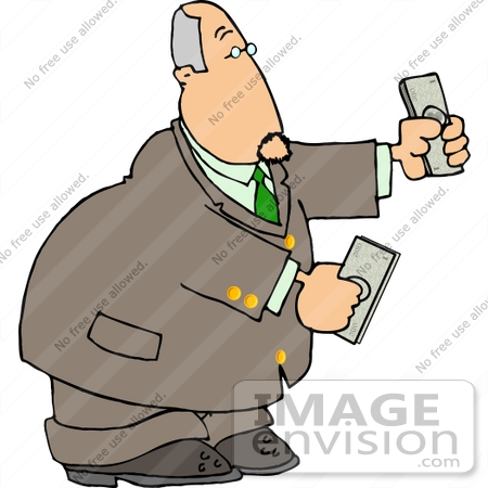 #14941 Caucasian Business Man Holding Money in His Hands Clipart by DJArt