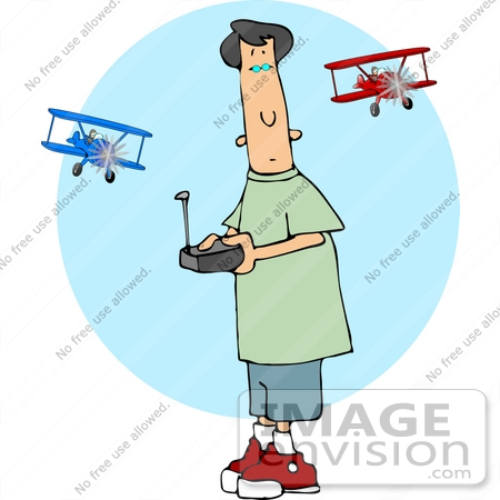 #14943 Boy Flying RC Airplanes Clipart by DJArt