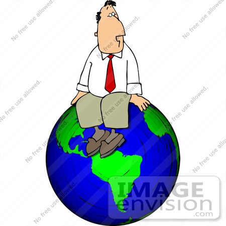 #14972 Successful Business Man Sitting on Top of The World Clipart by DJArt