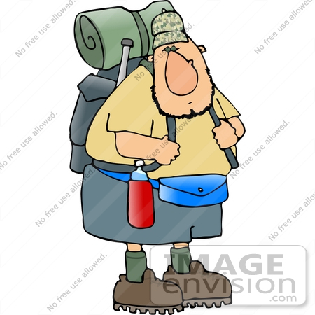 14991 Hiker Man With Camping Gear Clipart By DJArt