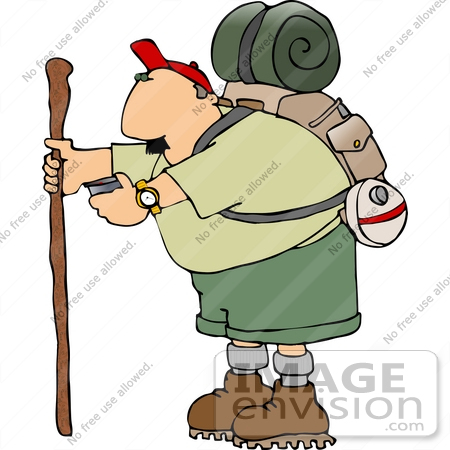 aged caucasian hiker man in a red hat, light green shirt, green shorts ...