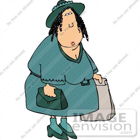 #15010 Caucasian Woman Shopping Clipart by DJArt