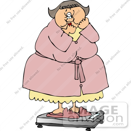 #15018 Shocked Overweight Woman on a Scale Clipart by DJArt