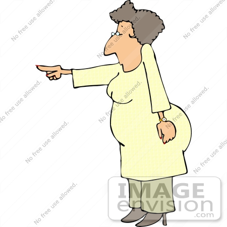 #15023 Stern Woman Pointing Clipart by DJArt