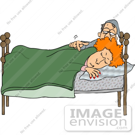 #15026 Man Waking His Wife Clipart by DJArt