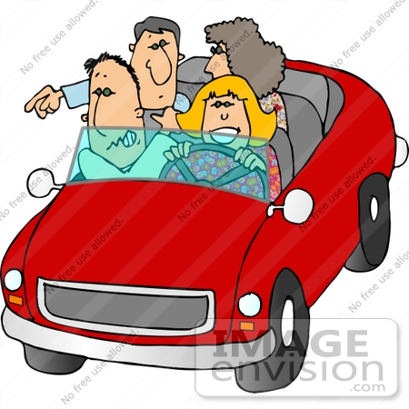 #15048 Two Caucasian Couples Riding in a Convertible Car Clipart by DJArt