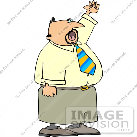 #15058 Caucasian Business Man Waving and Yelling Clipart by DJArt