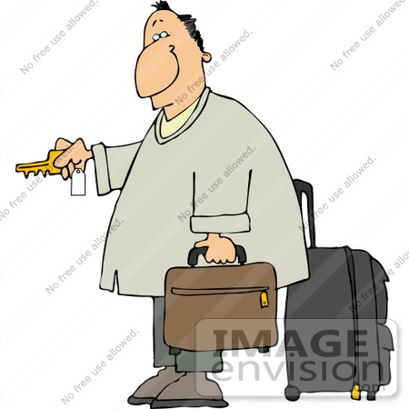#15060 Traveler With Luggage Unlocking a Hotel Door Clipart by DJArt
