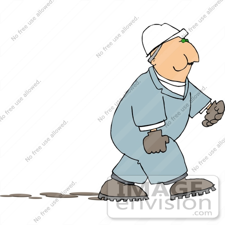 #15074 Worker in Coveralls and a Hardhat, Chewing Tobacco Clipart by DJArt