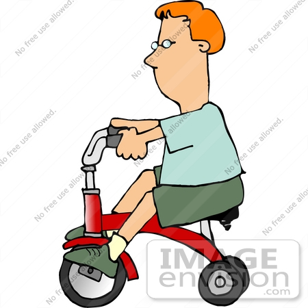 #15079 Caucasian Boy Riding a Red Trike Clipart by DJArt