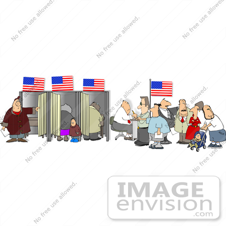 #15082 People in a Voters Office Voting Clipart by DJArt