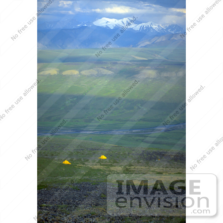 #15196 Picture of Yellow Tents Camping on the Arctic Refuge Coastal Plain by JVPD
