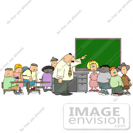 Elementary School Teacher Man Teaching His Students in a Classroom ...