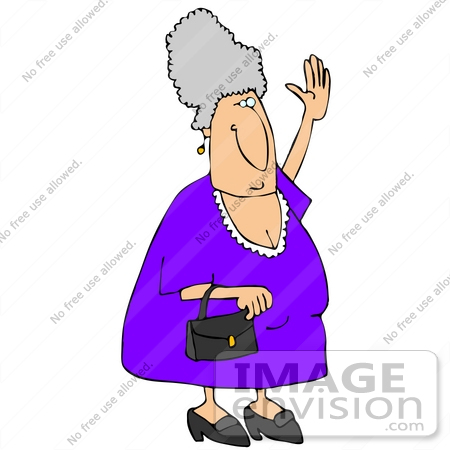 Elderly Caucasian Woman Carrying a Purse and Waving Clipart ...