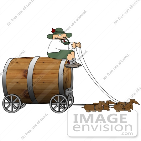 #16069 Dachshund Dogs Pulling a Coachman and Wooden Barrel Keg Wagon for Oktoberfest Clipart by DJArt