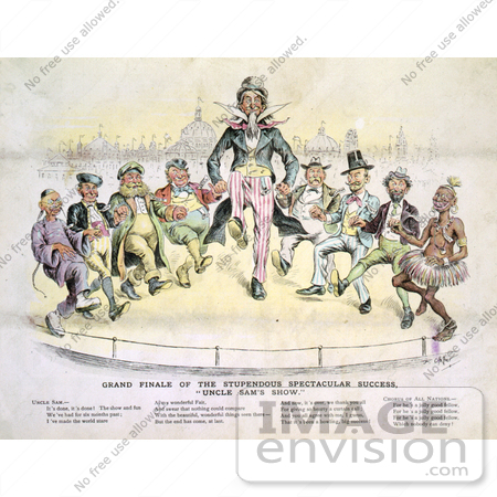 #16196 Picture of Uncle Sam and 8 Men Dancing by JVPD