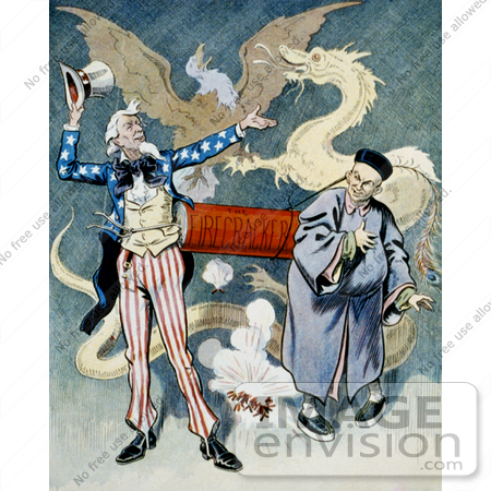 #16197 Picture of Uncle Sam and a Chinese Man With a Firecracker, Dragon and Eagle by JVPD