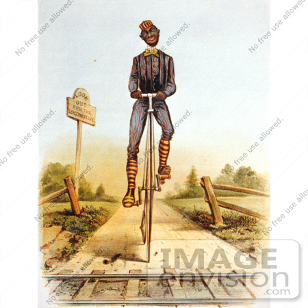 #16201 Picture of an African American Man Riding a Penny Farthing Bike by JVPD