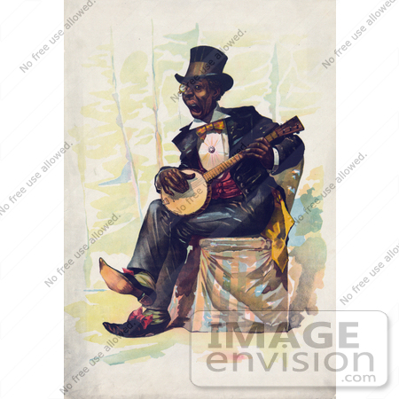 #16207 Picture of an African American Man Playing a Banjo by JVPD
