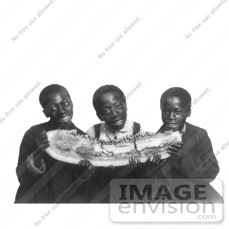 #16213 Picture of African American Boys Eating a Watermelon by JVPD