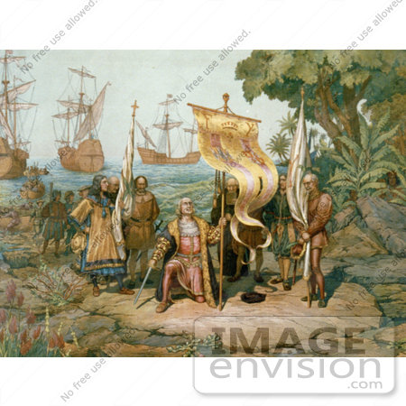 #1625 Illustration of Columbus Taking Possession of the New Country by JVPD
