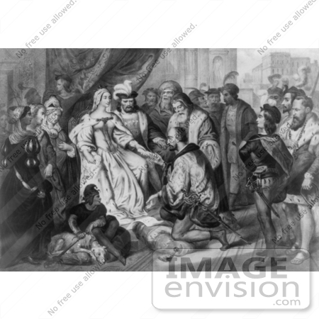 #1629 Christopher Columbus Kneeling in Front of Queen Isabella I - Bla by JVPD